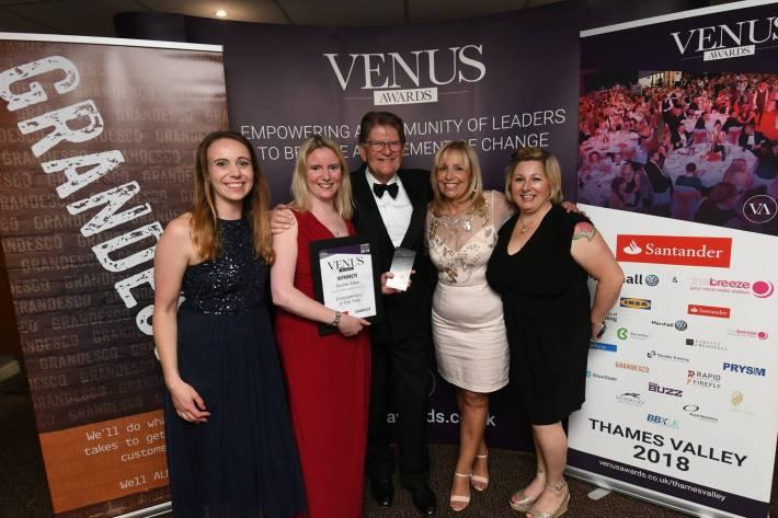 RE award with Sir John Sue Reynolds Miriam and Sabina